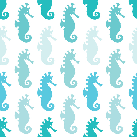 living organisms: Sea horse vector art background design for fabric and decor. Seamless pattern