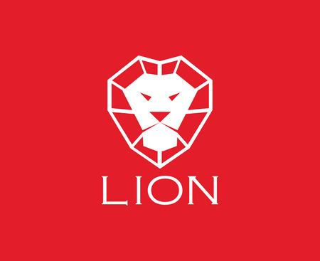 vector images: Vector images of lion head design on red background. Illustration