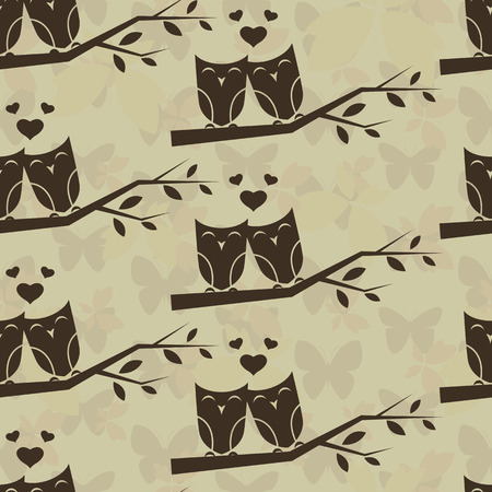 birds in tree: Owl and branch vector art background design for fabric and decor. Seamless pattern