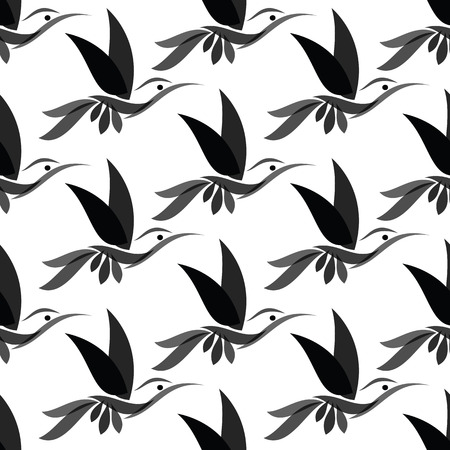 vector art: Hummingbird vector art background design for fabric and decor. Seamless pattern