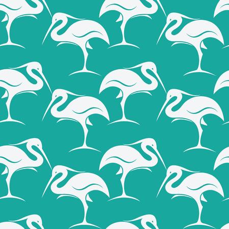 flamingos: Stork vector art background design for fabric and decor. Seamless pattern Illustration