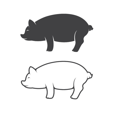 pig cartoon: pig design on white background Illustration