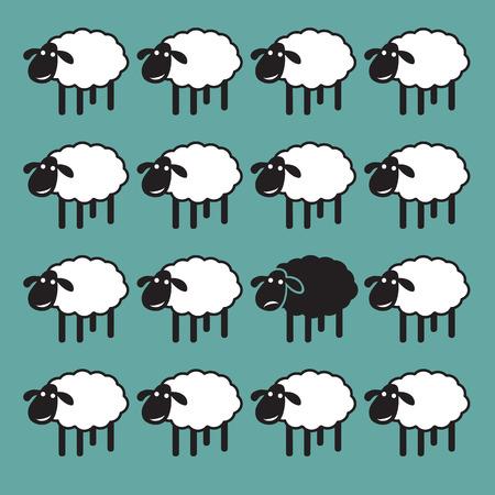 Enkele zwarte schapen in witte schapen groep. ongelijke begrip