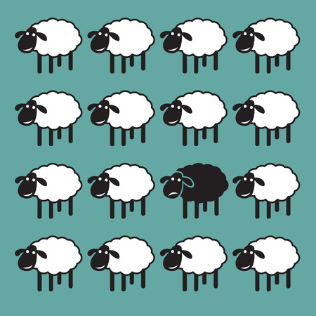 Single black sheep in white sheep group. dissimilar concept