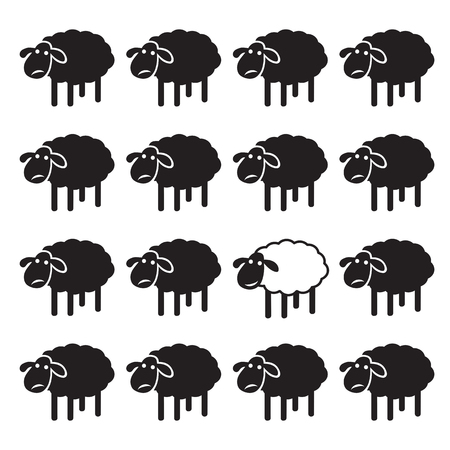 Einzelne weiße Schafe in der schwarzen Schafe Gruppe. unähnlich Konzept