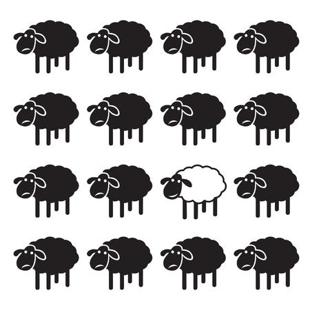 ovejas: oveja blanca sola en el grupo de ovejas negro. concepto diferente Vectores
