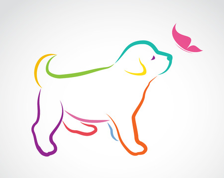 puppy love: Vector image of dog and butterfly on white background