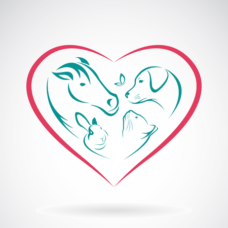 Vector immagine di animale sulla forma di cuore su sfondo bianco, cavallo, cane, gatto, coniglio, farfalla