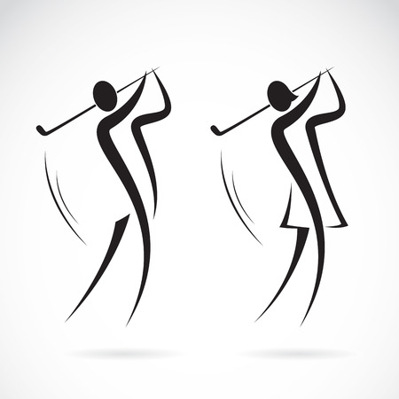Image of an male and female golfers design on white background
