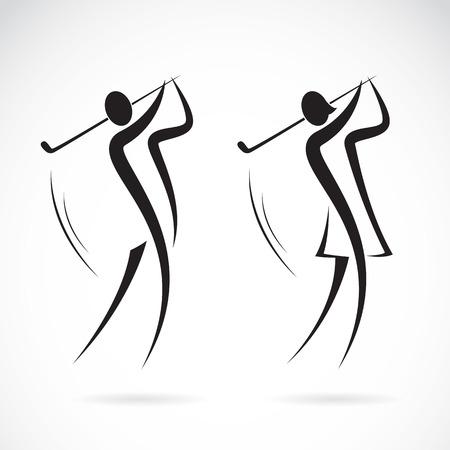 Afbeelding van een mannelijke en vrouwelijke golfers ontwerp op een witte achtergrond