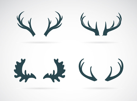 moose antlers: Antler icon set on white background. Horn