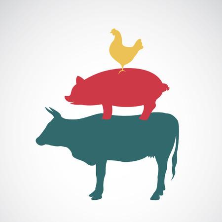 animal silhouettes: Group of animal farm label