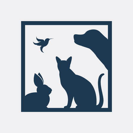 Group of pets in the frame. Isolated on a white background Vettoriali