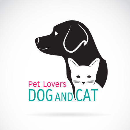 vector image: Vector image of an dog and cat design on a white background