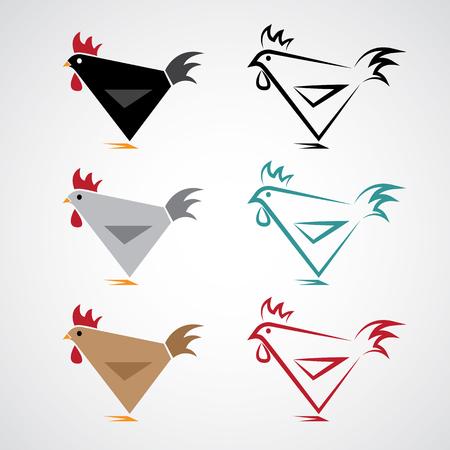 흰색 배경에 닭 디자인의 벡터 이미지 일러스트