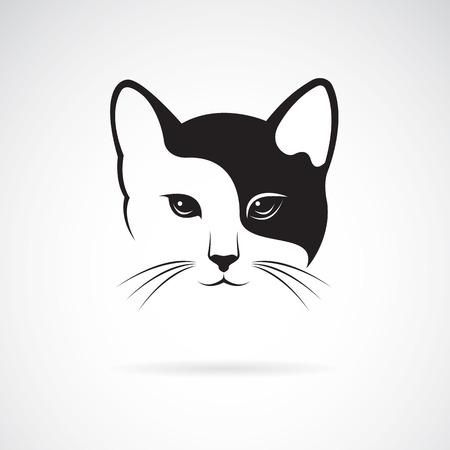dessin noir et blanc: image vectorielle d'une conception de visage de chat sur fond blanc.