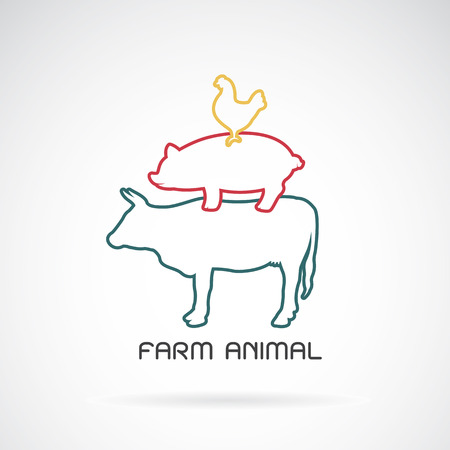 meat food: Vector group of animal farm label - cow,pig,chicken