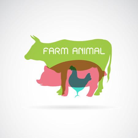 動物農場ラベル - 牛、豚、鶏のベクトル グループ