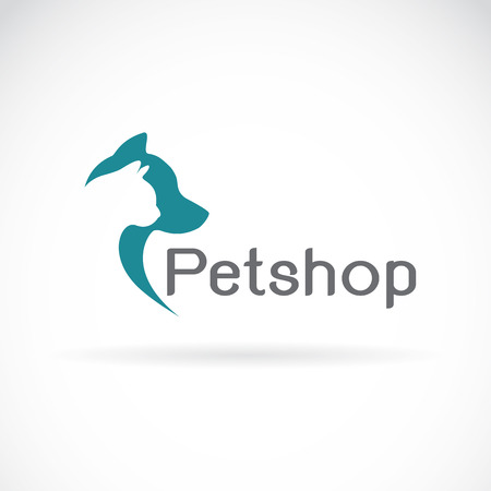 Vector image of an petshop on white background. dog and cat design