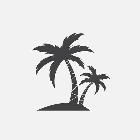 Vector image of an palm tropical tree icon on white background