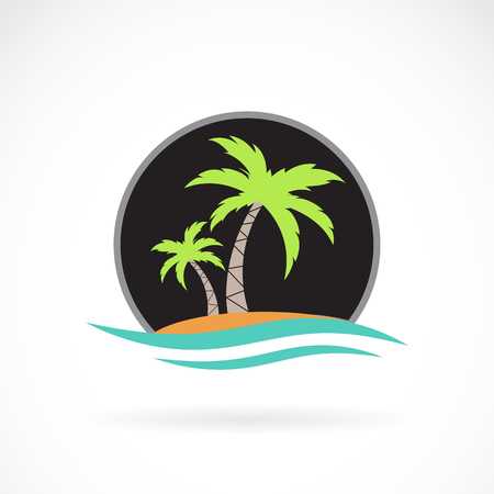 Caribbean sea: Vector image of an summer logo design on white background