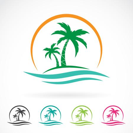 arbres silhouette: image vectorielle d'une icône tropicale palmier sur fond blanc. logo Illustration