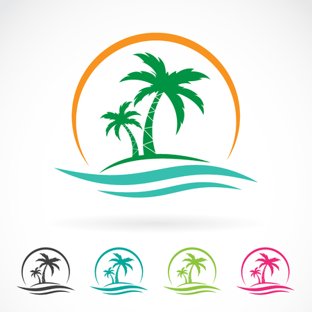 Vector image of an palm tropical tree icon on white background. logo design Ilustração