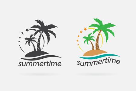 흰색 배경에 손바닥 열 대 나무 아이콘의 벡터 이미지입니다. 여름 시간 디자인