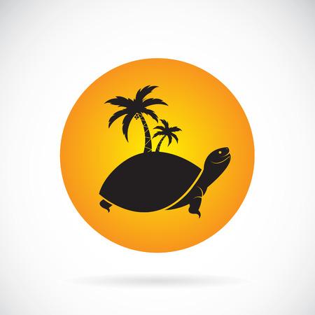 arbres silhouette: image vectorielle d'un arbre de palmiers et de tortues