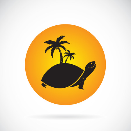 trees silhouette: Vector image of an palms tree and turtles Illustration