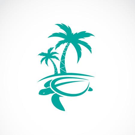 Imagen del vector de un árbol de palmas y tortugas Foto de archivo - 55619781