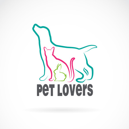 silueta de gato: Grupo de vector de animales domésticos - perro, gato, conejo, aislado en fondo blanco. diseño animal