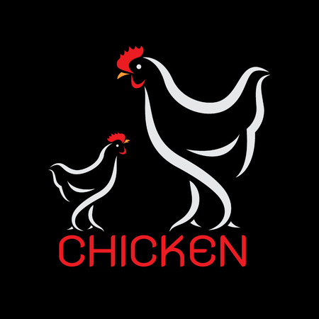red hen: Vector image of an chicken design on black background
