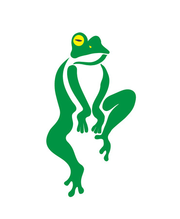 animals amphibious: Vector image of an frog design on a white background