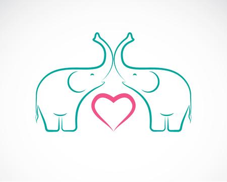 companions: image of elephant and heart on white background, Elephant Icon, Elephant Design. Illustration