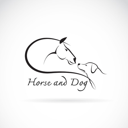 image of horse and dog on white background Ilustração