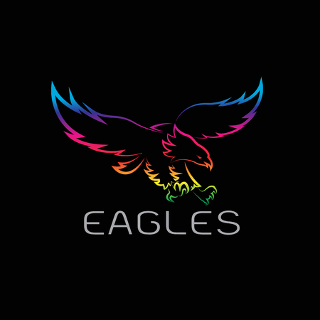 Vector image of an eagles design on black background.