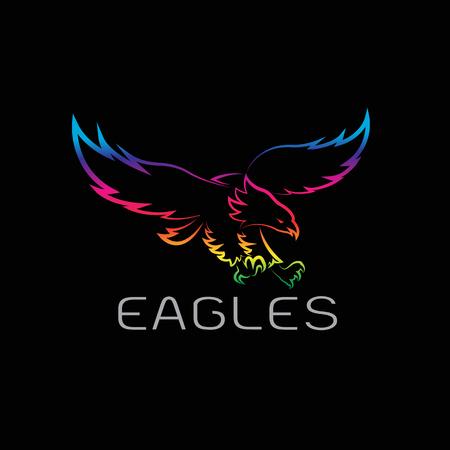 Vector de imagen de un diseño águilas sobre fondo negro. Foto de archivo - 58818823