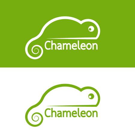 chameleon lizard: Vector image of chameleon design on white background and green background, Vector chameleon for your design.