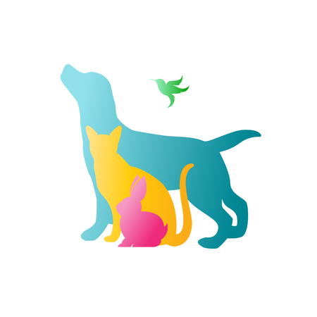 Vector group of pets - Dog, cat, rabbit,  humming bird isolated on white background. / Vector pets for your design. Stock Illustratie