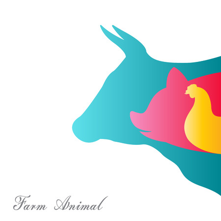 Vector group of animal farm on a white background, / cow, pig, chicken. / Vector animal farm for your design. Illustration