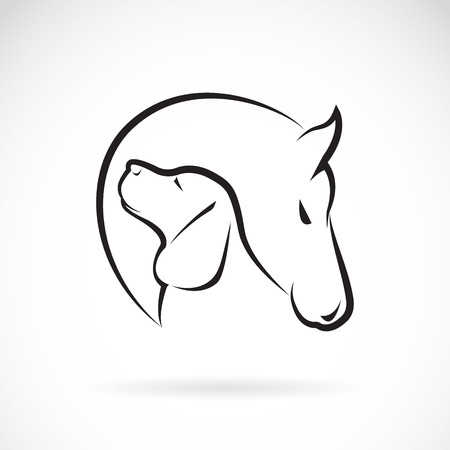 image of horse and dog on white background Stock Illustratie