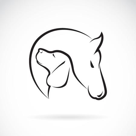 heart outline: image of horse and dog on white background Illustration