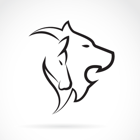 abstract animal: image of an lion head and horse head on white background. Illustration
