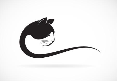 silueta de gato: imagen de un diseño de la cara del gato en el fondo blanco, cabeza del gato para su diseño