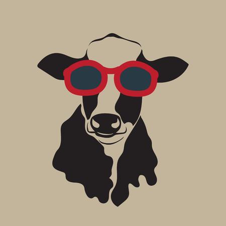 afbeelding van een koe draagt een bril. Vector Illustratie