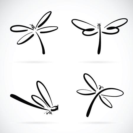 gruppo di vettore di libellula schizzo su sfondo bianco