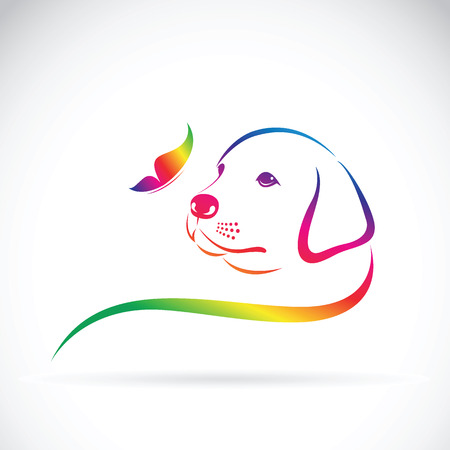 Vector of dog and butterfly on white background. Иллюстрация
