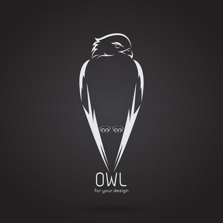 Vector image of a owl design on black background, Vector owl logo. Wild Animals. Illusztráció