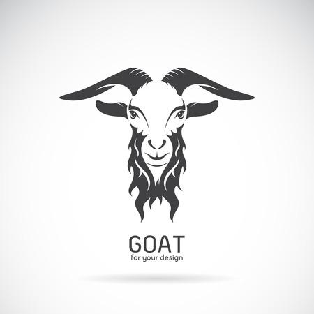 Imagen vectorial de un diseño de la cabeza de cabra en el fondo blanco, vector de cabra logotipo. Animales salvajes.